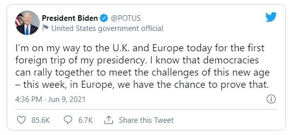Стартовал первый зарубежный визит президента США Джо Байдена